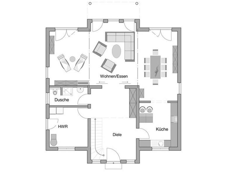 Grundriss Erdgeschoss Entwurf Karat von Kern-Haus