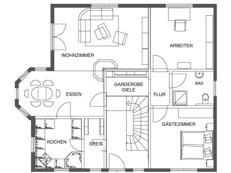 Grundriss Erdgeschoss Landhaus von Bodenseehaus