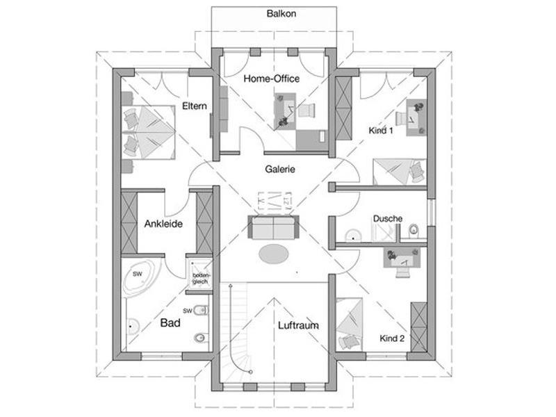 Grundriss Obergeschoss Entwurf Karat von Kern-Haus