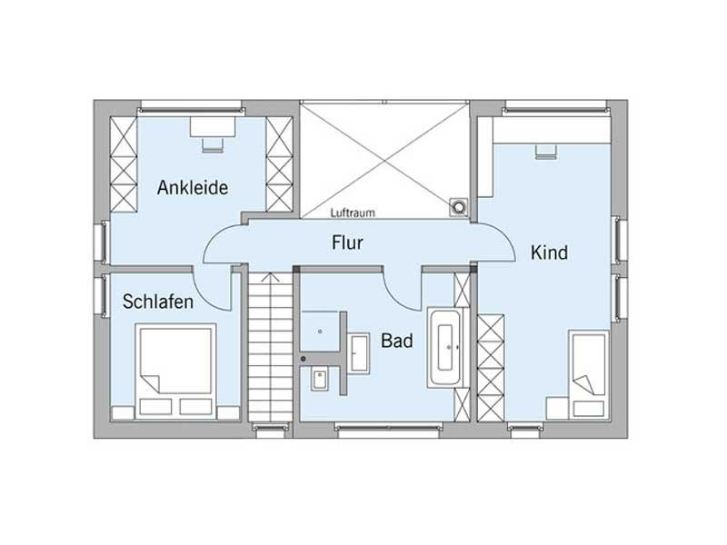 Grundriss Dachgeschoss Haus Schellenberg von Baufritz