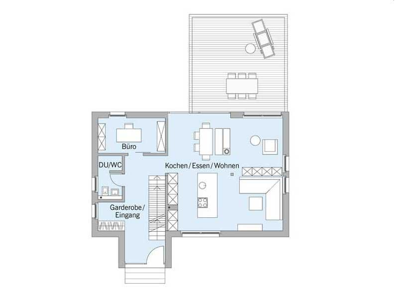Grundriss Erdgeschoss Haus Schellenberg von Baufritz