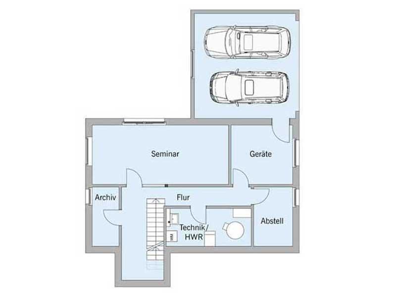 Grundriss Kellergeschoss Haus Schellenberg von Baufiritz