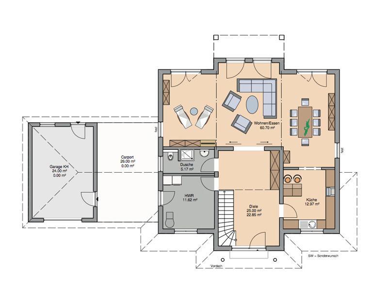 Grundriss Erdgeschoss Stadtvilla Aurelio von Kern-Haus