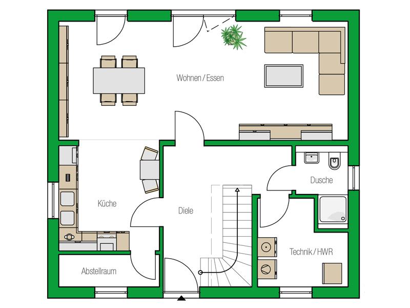 Einfamilienhaus Davos von Helma. Grundriss Erdgeschoss