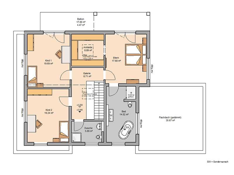 Grundriss Obergeschoss Entwurf Anteo von Kern-Haus