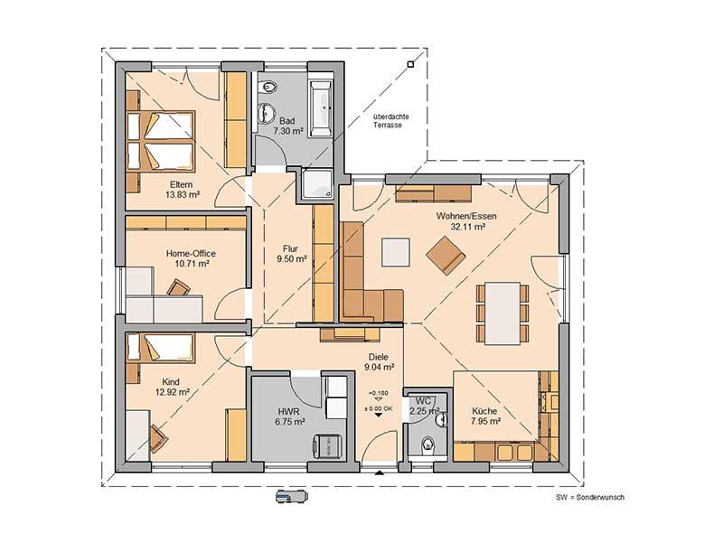 Grundriss Bungalow Enea von Kern-Haus