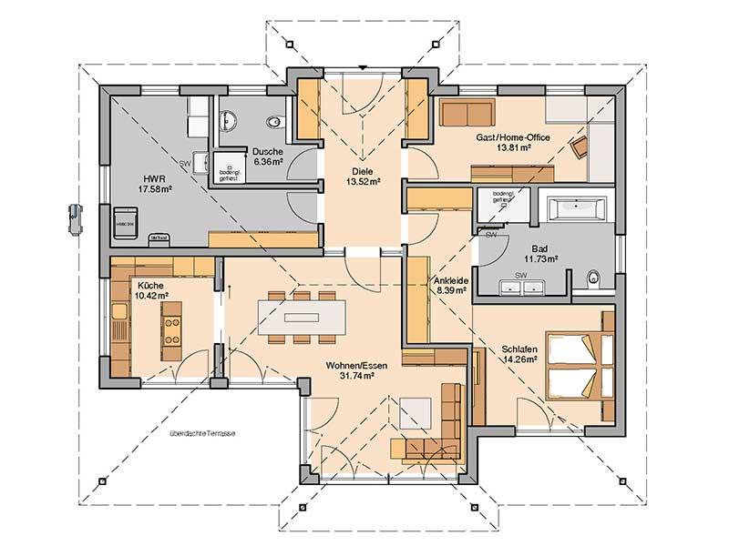 Grundriss Bungalow Kalea von Kern-Haus
