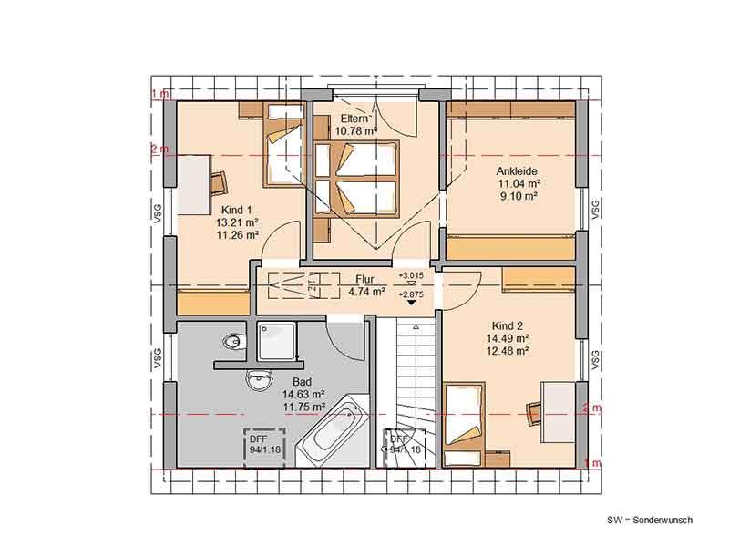 Grundriss Dachgeschoss Familienhaus Trend von Kern-Haus