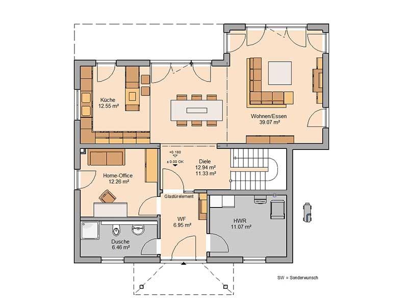 Grundriss Erdgeschoss Haus Gredo von Kern-Haus