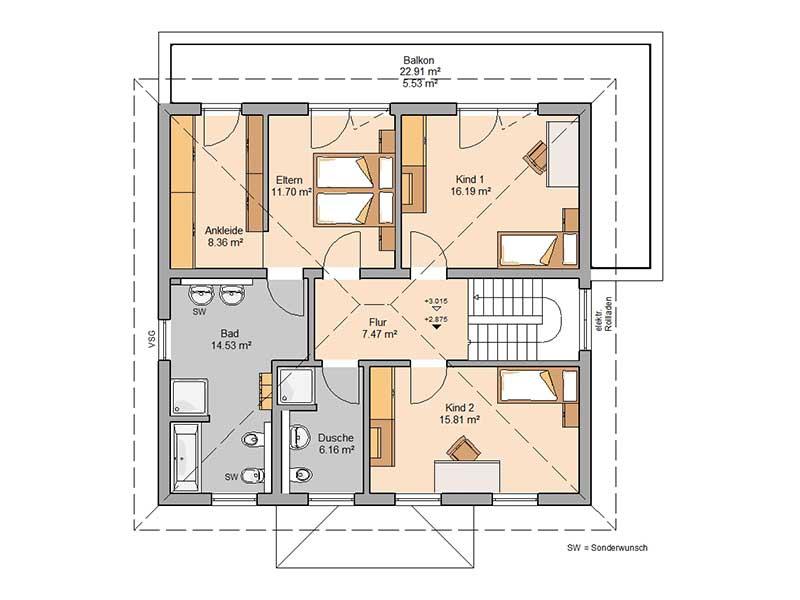 Grundriss Obergeschoss Haus Gredo von Kern-Haus