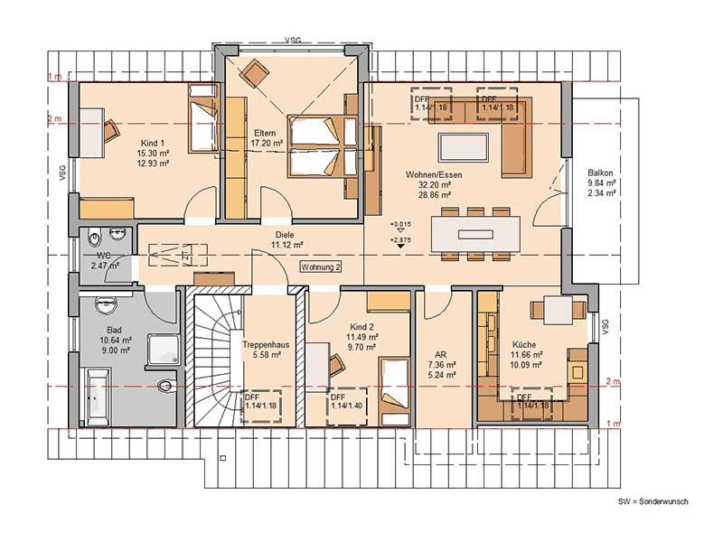 Grundriss Dachgeschoss Haus Extend von Kern-Haus