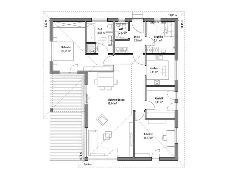 Grundriss Bungalow Walmdach 130 von Luxhaus