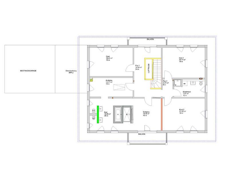 Grundriss Dachgeschoss Kundenhaus Wiesentheid von Bittermann und Weiss