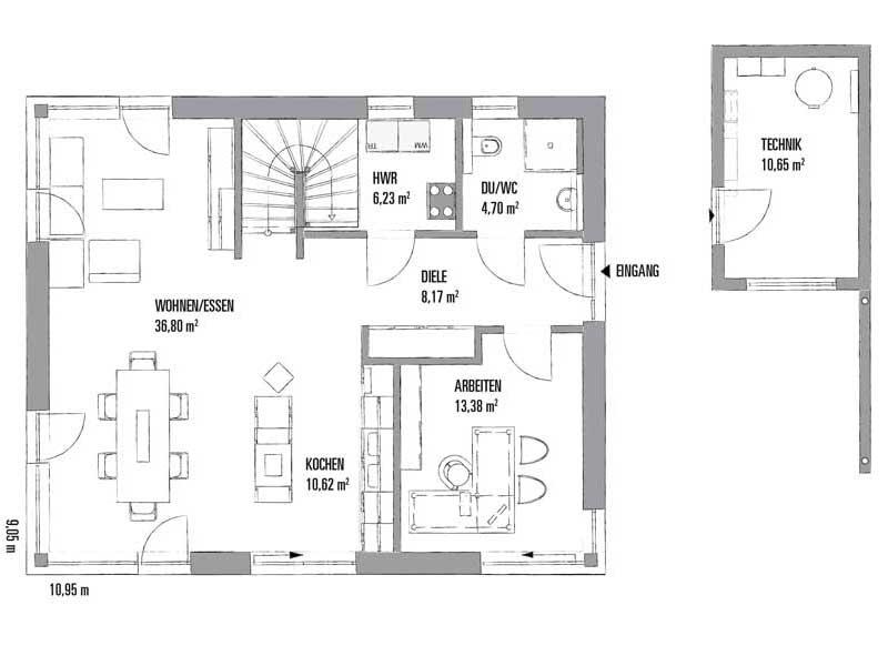 Grundriss Erdgeschoss Entwurf Lanos 2 1591 von Kampa