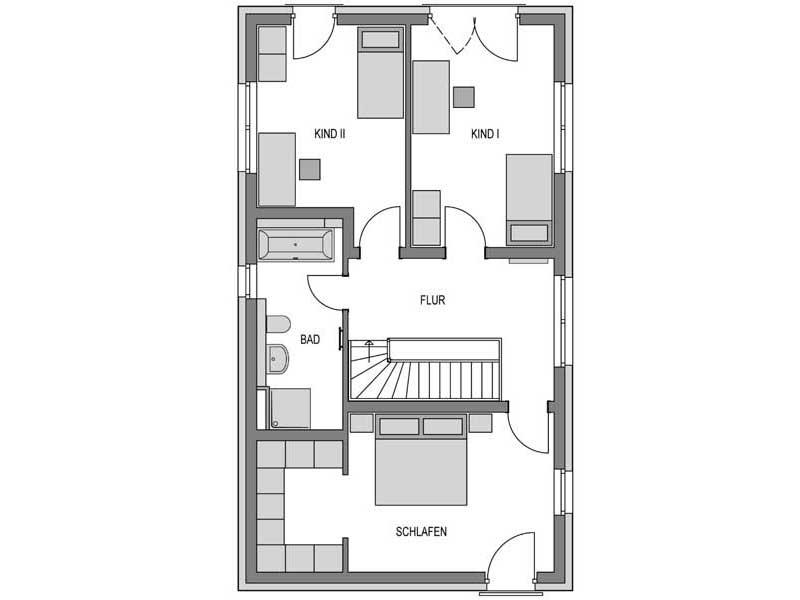 Grundriss Obergeschoss Doppelhaus L10 Putz von Heinz von Heiden