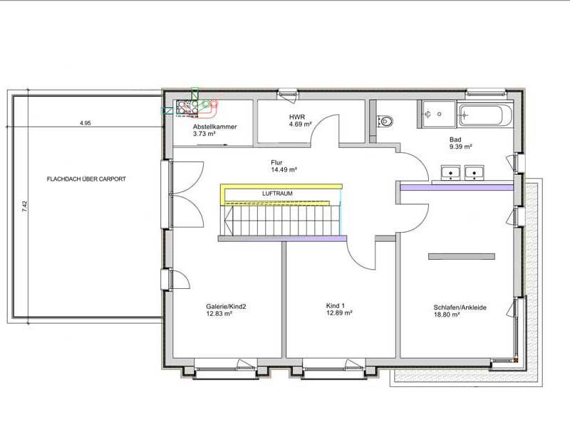 Grundriss Dachgeschoss Kundenhaus Lahr von Bittermann und Weiss