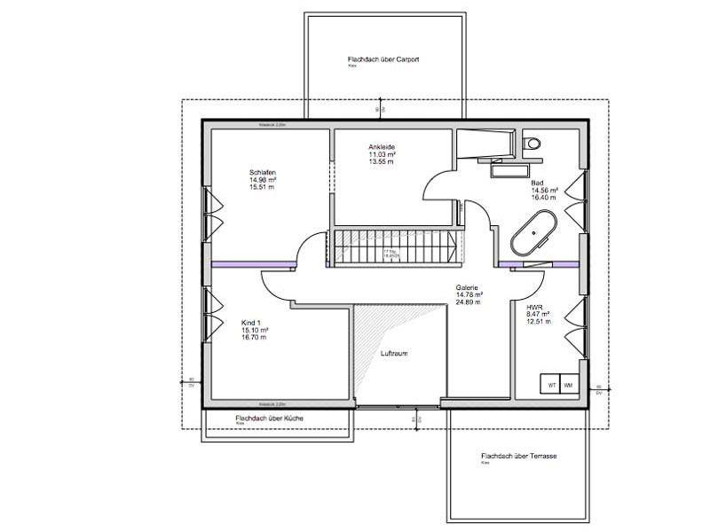 Grundriss Dachgeschoss Kundenhaus Dielheim von Bittermann und Weiss