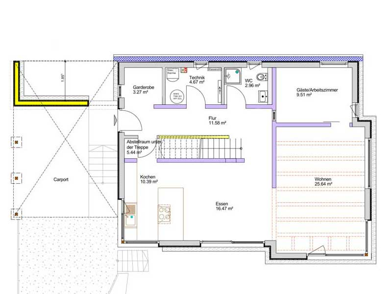 Grundriss Erdgeschoss Kundenhaus Lahr von Bittermann und Weiss
