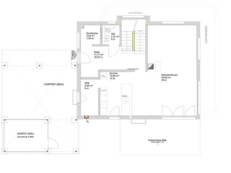 Grundriss Erdgeschoss Kundenhaus Sulzdorf von Bittermann & Weiss