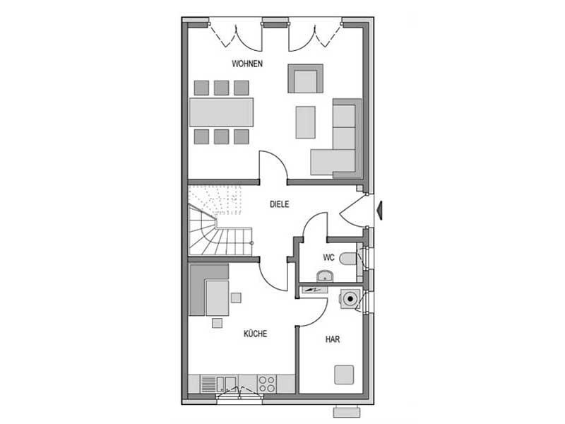 Grundriss Erdgeschoss Doppelhaus R10 Verblender von Heinz von Heiden