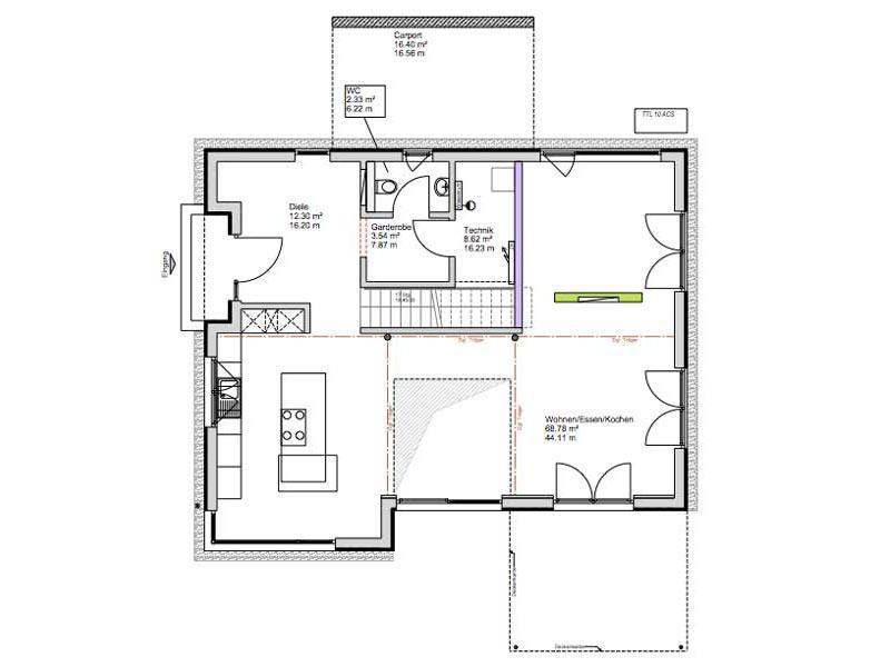 Grundriss Erdgeschoss Kundenhaus Dielheim von Bittermann und Weiss