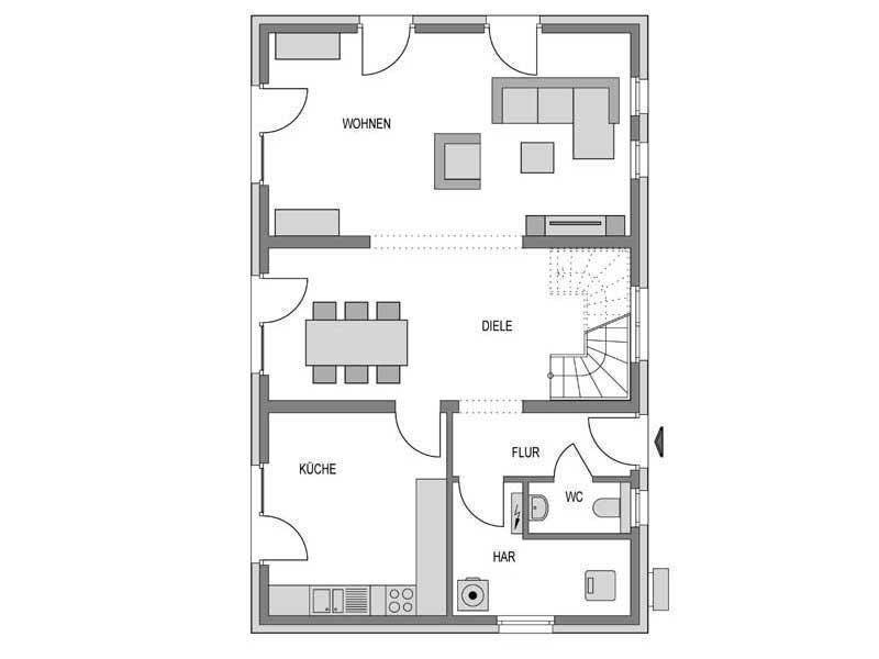 Grundriss Erdgeschoss Calvus 340 Putz von Heinz von Heiden