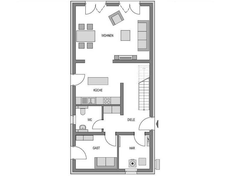 Grundriss Erdgeschoss Calvus 260 Putz von Heinz von Heiden