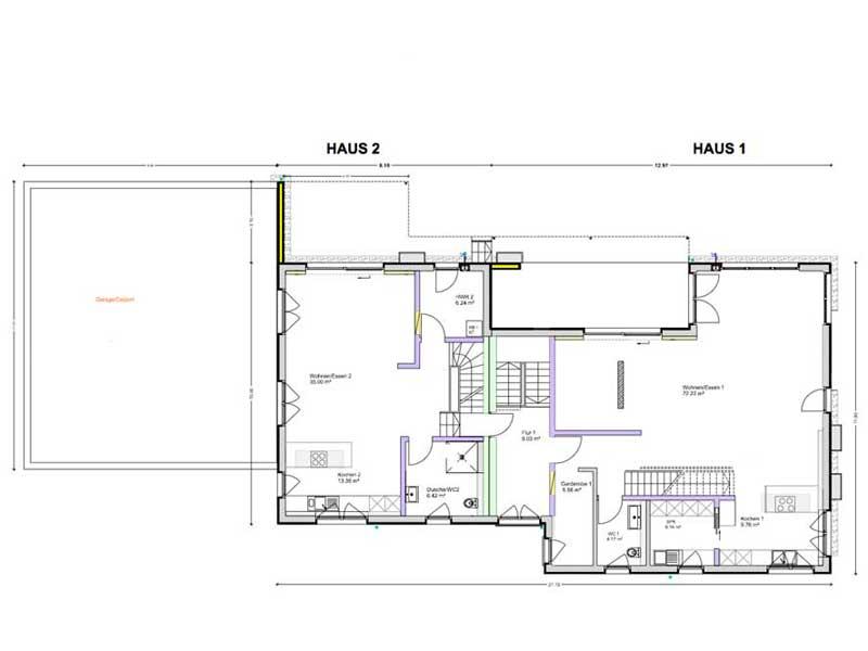 Grundriss Erdgeschoss Mehrgenerationenhaus Beck von Bittermann & Weiss