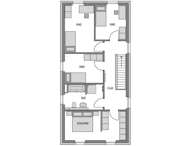 Grundriss Obergeschoss Calvus 260 Putz von Heinz von Heiden