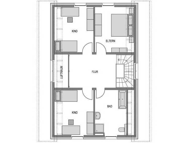 Grundriss Obergeschoss Calvus 340 Putz von Heinz von Heiden