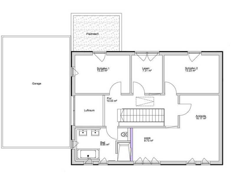 Grundriss Dachgeschoss Kundenhaus Lampertheim von Bittermann und Weiss