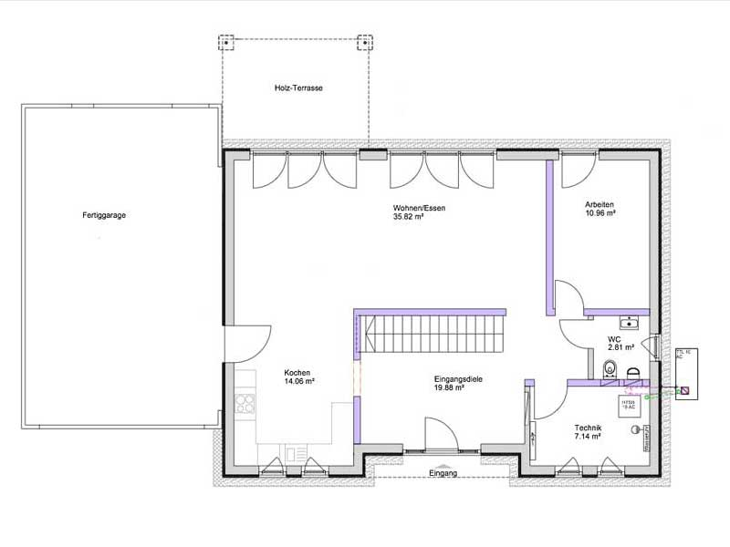 Grundriss Erdgeschoss Kundenhaus Lampertheim von Bittermann und Weiss