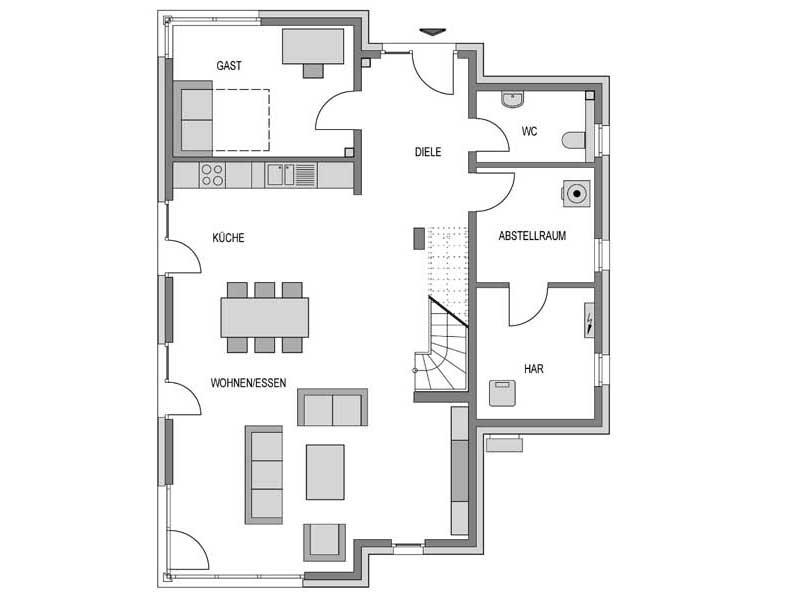 Grundriss Erdgeschoss Cirro K10 Putz von Heinz Heiden