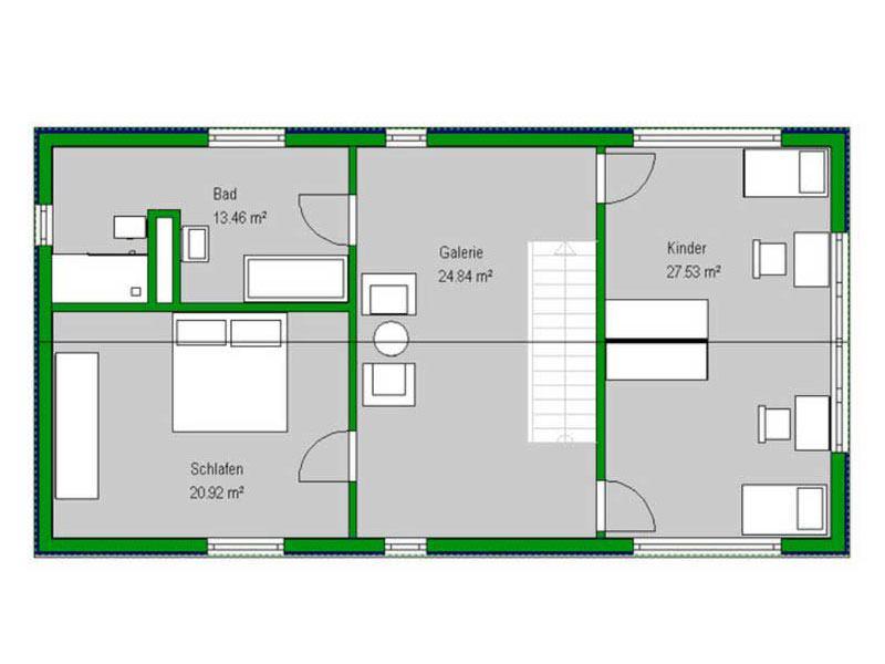 Grundriss Obergeschoss Musterhaus Gerchsheim von Bittermann und Weiss