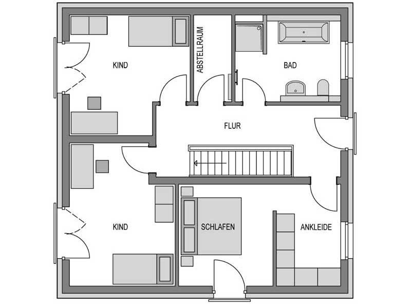 Grundriss Obergeschoss Stratus 150 Verblender von Heinz von Heiden