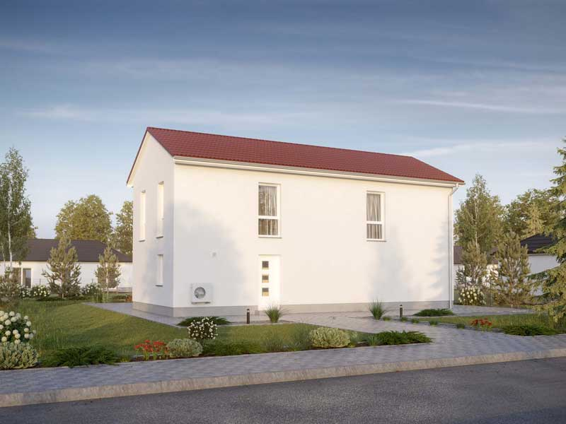 zweigeschossiges einfamilienhaus calvus 260 putz heinz von heiden eingang