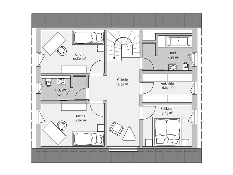 Grundriss Dachgeschoss Klassisch 142 von Fischerhaus