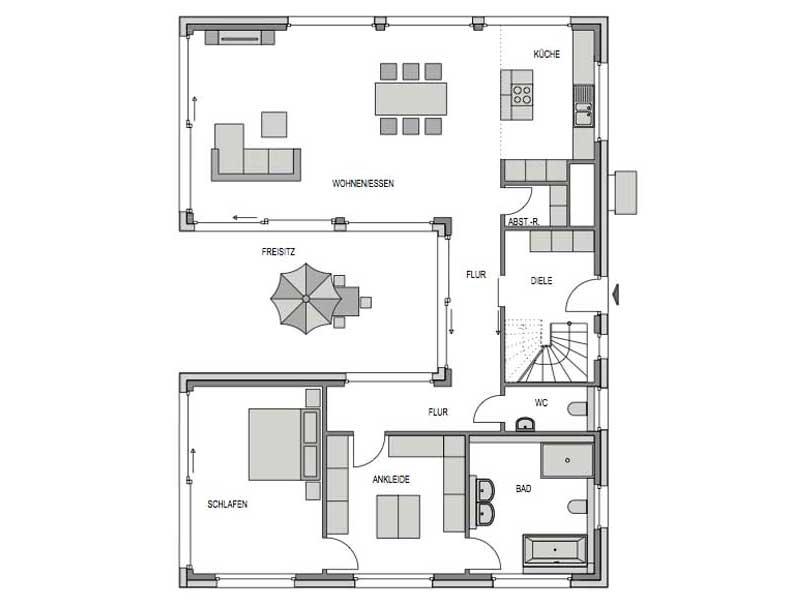 Grundriss Erdgeschoss Entwurf basierend auf Velum 750 von Heinz von Heiden)