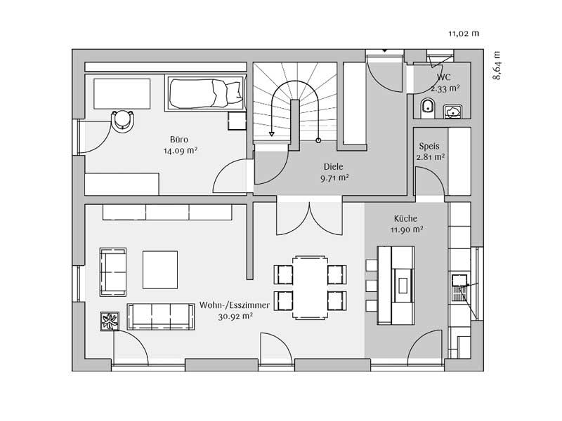 Grundriss Erdgeschoss Klassisch 142 von Fischerhaus