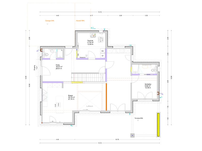 Kundenhaus Hösbach-Feldkahl von Bittermann & Weiss. Grundriss Erdgeschoss