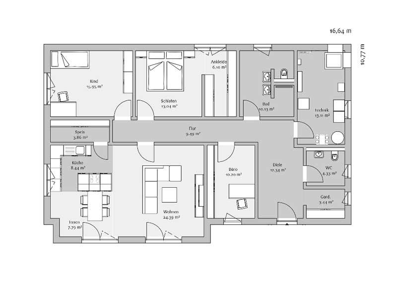 Grundriss Bungalow 142 von Fischerhaus