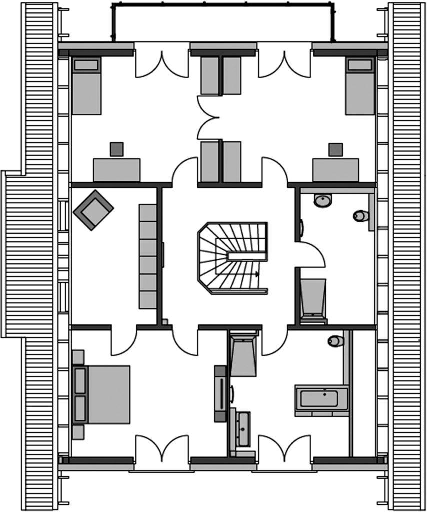 Haus Alto F10 von Heinz von Heiden. Grundriss Obergeschoss