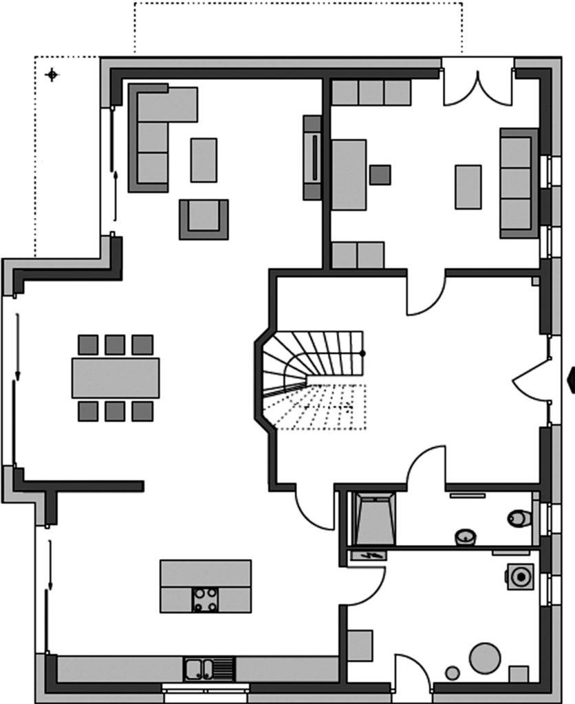 Haus Alto F10 von Heinz von Heiden. Grundriss Erdgeschoss