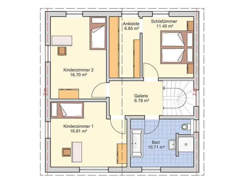 Grundriss Dachgeschoss Entwurf Juna von Fingerhut Haus