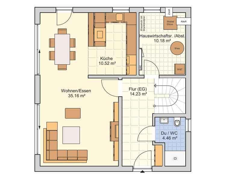 Grundriss Erdgeschoss Entwurf Juna von Fingerhut Haus