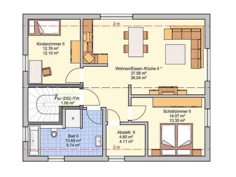 Grundriss Obergeschoss Entwurf Junto 167 von Fingerhut Haus