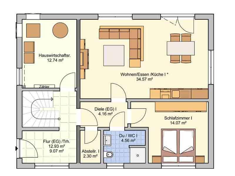 Grundriss Erdgeschoss Entwurf Junto 167 von Fingerhut Haus