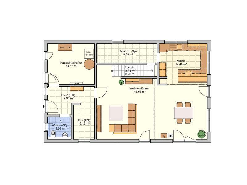 Grundriss Erdgeschoss Entwurf Arbaro von Fingerhut Haus