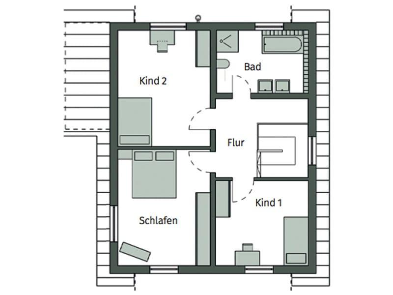 Grundriss Obergeschoss Kundenhaus Chnaid Tautorat von Schwörerhaus