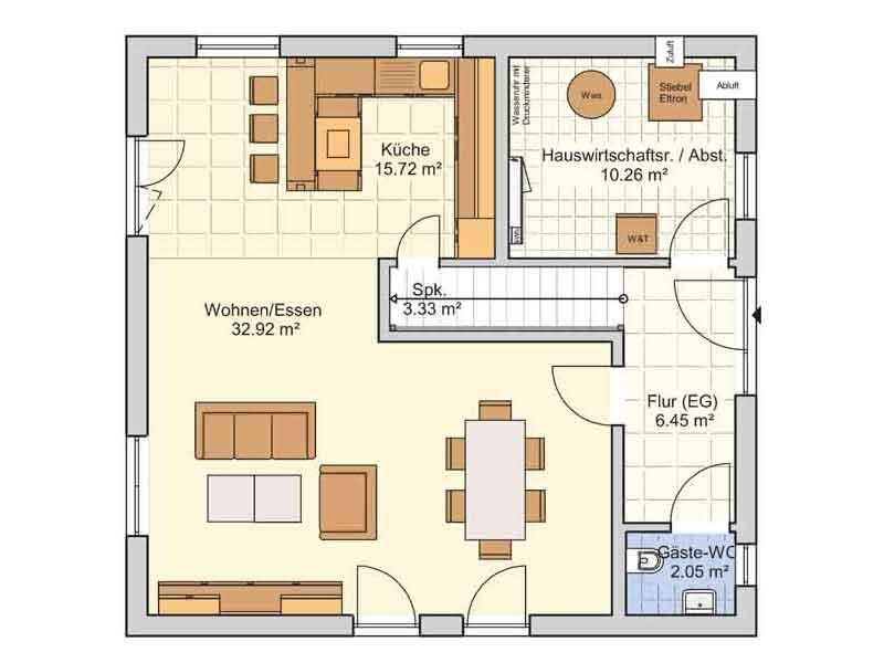 Grundriss Erdgeschoss Entwurf London Fingerhut Haus